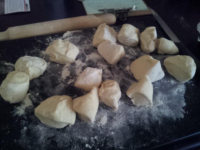 dough cut into 16 pieces